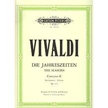 """Die Jahreszeiten: Konzert für Violine, Streicher und Basso continuo g-Moll op. 8 Nr. 2 RV 315 """"Der Sommer"""": Ausgabe für Violine und Klavier / Vier Konzerte für Violine und Streichorchester"""