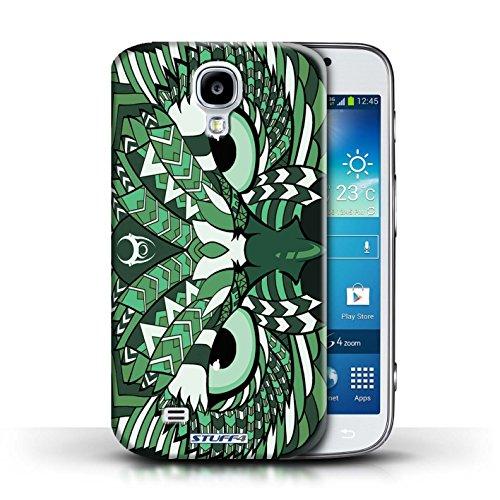 Coque en plastique pour Samsung Galaxy S4/SIV Collection Motif Animaux Aztec - Tigre-Mono Hibou-Vert