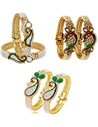 YouBella Jewellery Traditional Gold Plated Combo of 3 Bracelet Bangle Set for Girls and Women