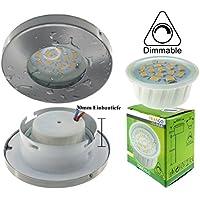 Trango IP44 Einbaustrahler Rund incl. 1x dimmbare LED Modul nur 3cm Einbautiefe Bad Dusche Badezimmer (TG6729IP-012MD Edelstahl-Look)