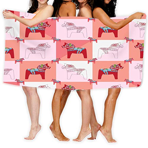 Haut Feminine Tücher (zexuandiy Microfiber Fast Drying Bath Towels Swimming Camping Towel, Adults Spa Bath Towel 31x51 Inches dala Horse Silhouette Square Half Seamless Pattern Feminine red pink Color Style)