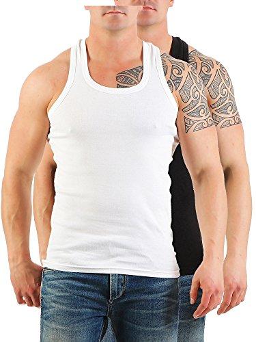 2er Pack Herren Tank Top Unterhemd Muskelshirt Ramboshirt Nr. 452 Schwarz-Weiß