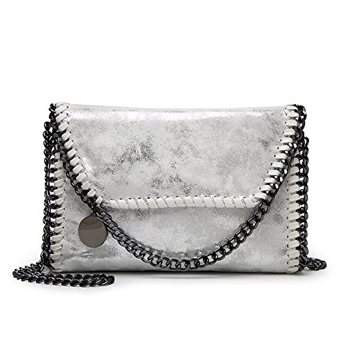 KAMIERFA Damen Metallic Umhängetasche mit Kette Shopper Beuteltasche Lässig Stil Silber (Handtaschen Kette Silber)