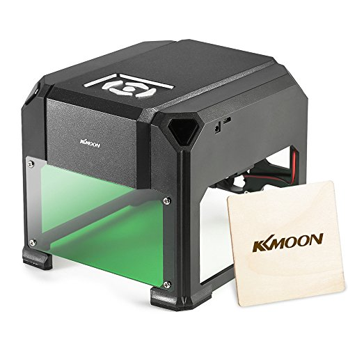 KKmoon AC100-240V 1000mW Mini USB Laser Graviermaschine, Lasergravierer Gravur Maschine Automatisch DIY Druck Gravurbereich 80 x 80mm für Laser Cutting Engraving, Incl. AC DC Adapter USB Stick Kabel (Holz-laser-gravur-maschine)