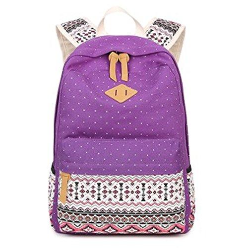 Onorevoli eolico nazionale Travel zaino in tela di scuola floreale borsa, kaki Purple