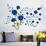 Oren Empower Blue Roses Wall Sticker For A Couple (Finished Size On Wall - 147(w) X 98(h) Cm)