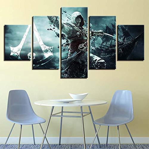 iel Assassin's Creed 5 Teilig Wandbild Leinwand Bild Wandbilder Wohnzimmer Wohnung Deko Kunstdrucke,A,M ()