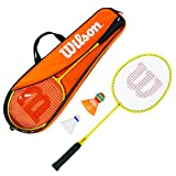 Wilson WRT8756003 Kit de Badminton, Junior Badminton Kit, Unisexe, 2 Raquettes de Badminton, 2 Volants en Plastique et 1 sac de transport Inclus, Orange/Jaune