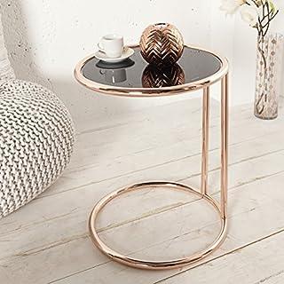 Beistelltisch Couchtisch OLYMPIUS Kupfer Glas Schwarz Rund 40cm Ø Art deco Wohnzimmertisch - Designer Tisch von ambientica