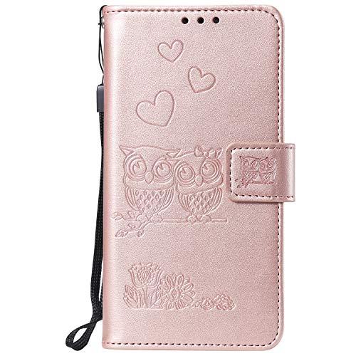 Miagon für Huawei Honor 9 Lite Hülle,Geprägt Eule Blumen Herz Muster Pu Leder Ständer Flip Schutzhülle Tasche Brieftasche Etui mit Magnetverschluss Kartenhalter
