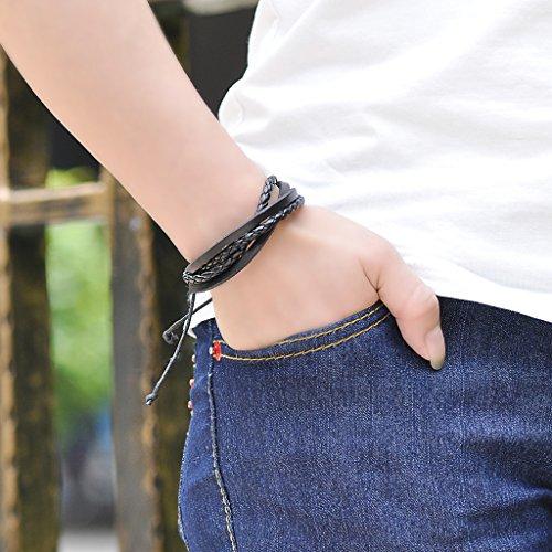 Infinite U Fashion simple pour femme en cuir pour homme bracelet multi-strands tressé Bracelet multicouche bracelet en corde, 17–27cm réglable Noir