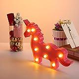 niceEshop(TM) Veilleuse pour Enfant, Portable Lampe de Chevet Enfant en Forme de Licorne LED Lampe à Batterie pour Enfants, Licorne Rose Pâle