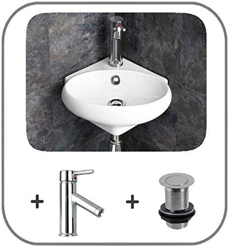 Moda Cesena Corner Wash Basin with Mono Mixer Tap and Basin Waste