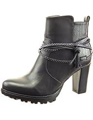 Sopily - Zapatillas de Moda Botines low boots A medio muslo mujer piel de serpiente multi-correa cuerda Talón Tacón ancho alto 8 CM - Negro