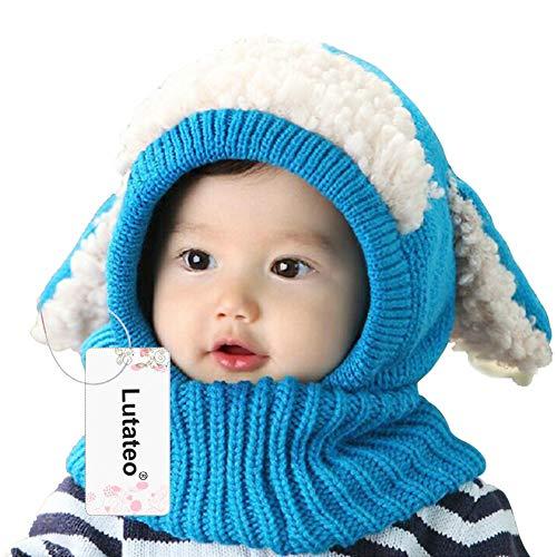 Unisex Baby Mütze, Strickmütze Warm Wintermütze, Earflap Hut Kappe Schnee Hut, Schlupfmütze Schalmütze Hündchen (Blau)
