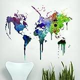 Vinilo Mapa Mundo en Acuarela Decoración Hogar Arte de la Pared - 152 x 115 cm