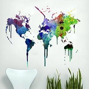 Moonwallstickers Vinilo Mapa Mundo en Acuarela Decoración Hogar Arte de la Pared – 152 x 115 cm