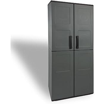 bestehend aus Beistellschrank /& Schrank Ondis24 Kunststoffschrank Set Jolly anthrazit-grau h/öhenverstellbare Einlegeboden je Boden mit 15kg belastbar