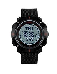 oumosi Hombres Grandes dial digital relojes de pulsera brújula resistente al agua deportes reloj