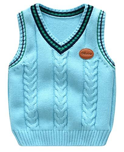 Binse Baby Jungen Weste Pullunder V Ausschnitt Ärmellos Pullover Baumwolle Sweatshirt Top Hellblau Weste Länge 43cm Baumwoll-pullover Weste