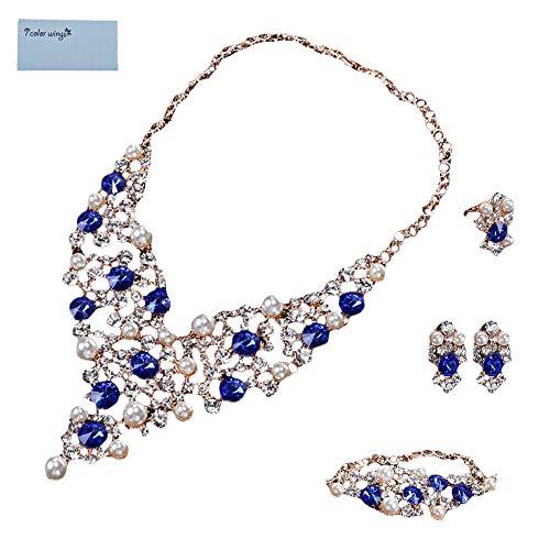695c069a1437 7 Color Wings 4 unids Crystal Bangle Ring Pendientes Collar Conjuntos de  Joyería Imitado Perla Joyería