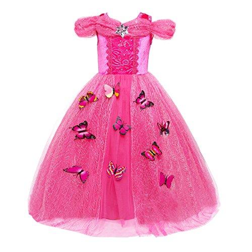 OwlFay Mädchen Kostüm Aurora Belle Aschenputtel Rapunzel Prinzessin Kleid Grimms Märchen Cosplay Karnerval Halloween Kostüm Partei Outfit Geburtstag Partykleid Fotoshooting Kinder 1-12 Jahre