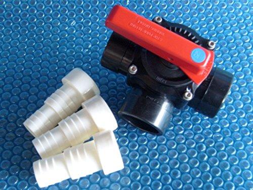 PVC 3-Wege-Zylinderhahn, Ventil, 50/63 mm, Kugelhahn, inkl. 3 Klebetüllen (3-wege-kugelhahn)