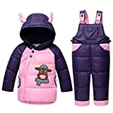 LSERVER-unisex tuta da sci per bambina piumino bambino invernale modelli Animali giacca bambina snowsuit completo da neve per bambino 2 pezzi,1-3 anni