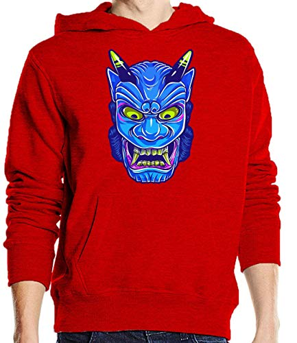 Luckyprint Blue Chinese Devil Demon Mask Graphic Red Pullover Hoodie XL