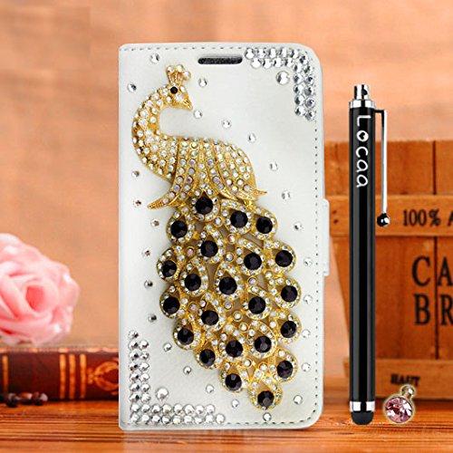 Locaa(TM) Pour Apple IPhone 7 Plus IPhone7+ (5.5 inch) 3D Bling Paon Case Coque Fait filles Cuir Qualité Housse Chocs Étui Couverture Protection Cover Shell Romantique [Paon 2] Rose - Paon Perle Blanc - Paon Noir