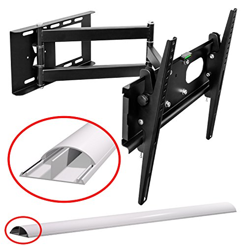 M&G Techno TV Wandhalterung schwenkbar ausziehbar +/- 15° geeignet für TV und Monitore bis 160 cm Diagonal (63 Zoll) mit VESA Normen in cm: 10x10 | 20x10 | 20x20 | 30x30 | 30x40 | 40x30 | 40x40, Wandabstand min 90 mm, max 670 mm geschweißte Gelenke, Farbe schwarz, universell passend für alle Monitore und TV-Marke, in bewährter M&G Techno-Qualität, Model 2968