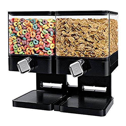Dispensador de cereales doble / individual La máquina / depósito de alimentos secos contiene 19 onzas de alimentos (Dispensador doble negro)