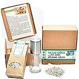 direct&friendly Salzige Grüße mit einer würzigen Prise - Geschenkset Bio 7-Kräuter grobes Meersalz, Mühle mit Keramikmahlwerk und Nachfüllpack