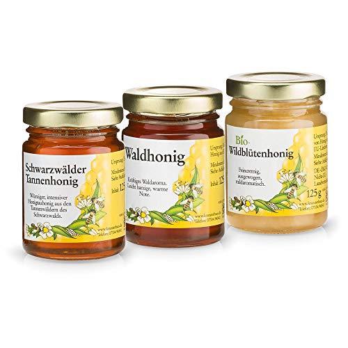 Sanct Bernhard Honig Probierset mit Waldhonig, Bio-Wildblütenhonig, Schwarzwälder Tannenhonig, naturbelassene Honigspezialitäten - 3 Gläser à 125 g (Bio-bienenhonig)