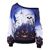 SEWORLD Schal Frauen Einzigartig Halloween Drucken Langarm Sweatshirt Pullover Tops Bluse Shirt(Blau,EU-42/CN-XL)