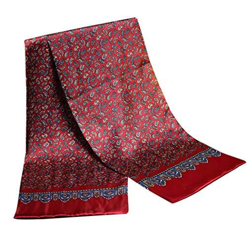 UK_Stone Klassisch 100% Seide Paisley Blumen Halstuch Herren Schal Weihnachtsgeschenk (Paisley # 1 Rot)