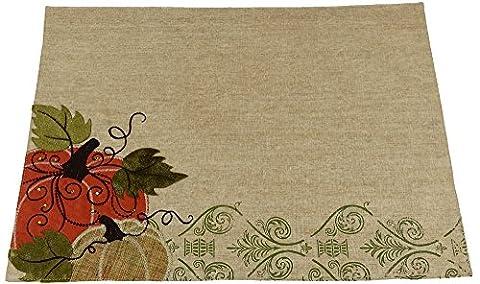 Xia Home Fashions citrouille brodée Polyester avec accents en daim Collection automne Set de table, 13par 45,7cm