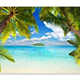 murando - Fototapete Tropische Insel 300x210 cm - Vlies Tapete - Moderne Wanddeko - Design Tapete - Wandtapete - Wand Dekoration - Tropical Insel Strand Meer See Himmel Blau Landschaft Palmen Laguna 10110903-21