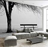Ysurehom 3D Foto Wallpaper Murale Nero Bianco Grande Albero Panchina Arte Astratta Pittura Murale Moderno Soggiorno Divano Tv Sfondo Decor-396x280cm