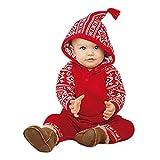 Hirolan Baby Weihnachten Schneeoverall Babykleidung Baby Strampler Neugeborene Mädchen Junge Kapuzenpullover Drucken Strampler Lange Ärmel Overall Pyjama Rot Outfits (100, Rot)
