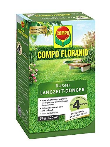 COMPO FLORANID Rasen Langzeit-Dünger, 4 Monate Langzeitwirkung, Feingranulat, 3 kg, 120 m² (20 20 20-dünger Flüssig)