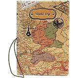 Nueva Cubierta Funda Pasaporte Estampado Mapa del Mundo Cuero PU Organizador
