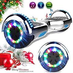 Idea Regalo - RCB Scooter Elettrico 6.5 inch con LED Bluetooth su ruote brillante Auto bilanciamento 6.5'' Lampeggianti Bluetooth per Adulti e Bambini
