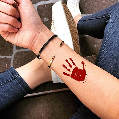 Blutig temporäre gefälschte Tätowierung Aufkleber abwaschbares Tattoo (Set von 2) - ()
