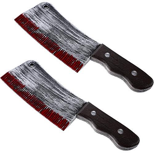 2 Stücke Kunststoff Blutig Messer Halloween Blutig Spielzeug Messer für Halloween Kostüm Zubehör (Stil - Adult Messer Kostüm