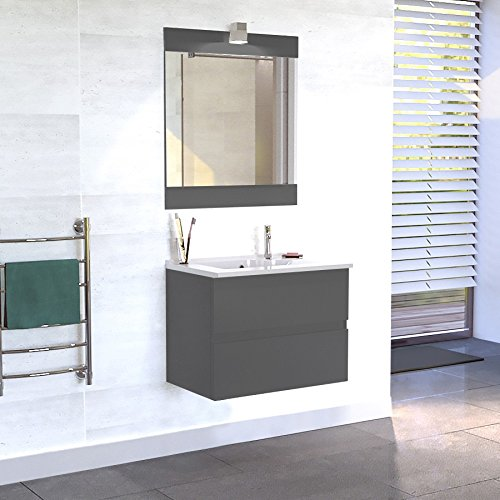 Meuble salle de bain simple vasque ROSALY 80 - Gris brillant