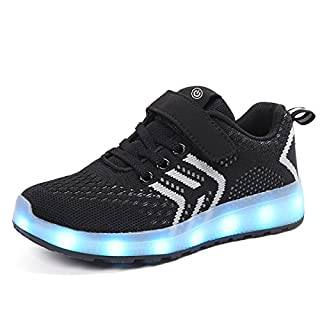 Ansel-UK LED Light up Trainers 7 Colors Luminous Flashing USB Charge Breathable Sport Running Shoes Gymnastic Tennis Sneakers Best Gift for Boys and Girls Birthday Black
