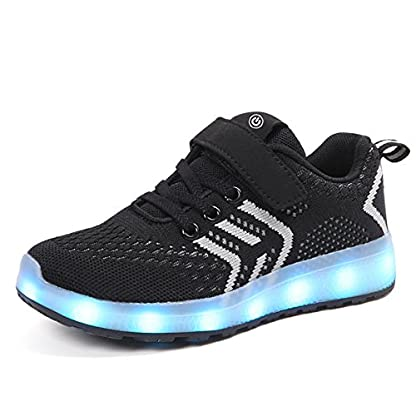Axcer LED Light Up Trainers 7 Colors Flashing USB Charge Mesh Breathable Sport Running Shoes Gymnastic Tennis Sneakers Best Gift for Boys and Girls Birthday 1