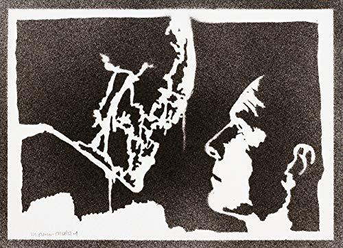 Alien Xenomorph und David Poster Plakat Handmade Graffiti Street Art - Artwork