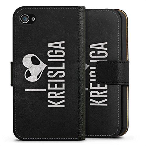 Apple iPhone X Silikon Hülle Case Schutzhülle Ich Liebe Kreisliga Fußball Bier Sideflip Tasche schwarz